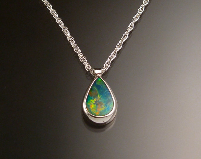 Blue Australian Boulder Opal necklace Sterling Silver large stone Natural Opal necklace