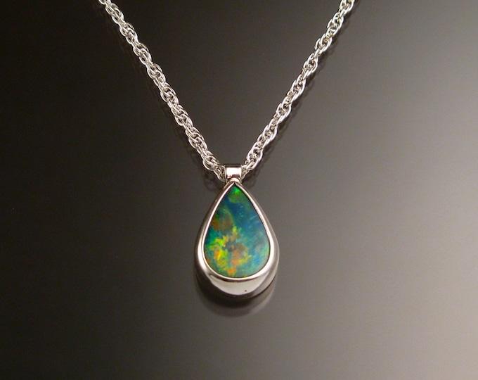 Blue Australian Boulder Opal necklace Sterling Silver large stone Natural Opal necklace