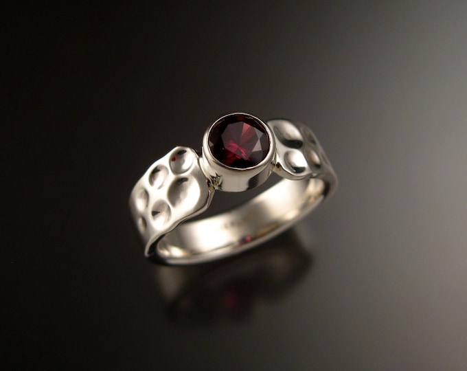 Garnet Raspberry red 6mm round Sterling Silver Bezel set stone ring with Moonscape band made to order in your size