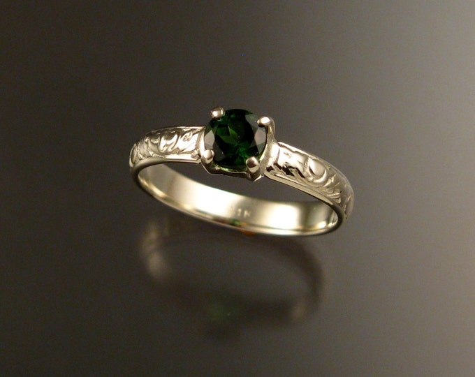 Green Tourmaline Wedding ring 14k White Gold Emerald substitute Victorian floral pattern ring made to order in your size