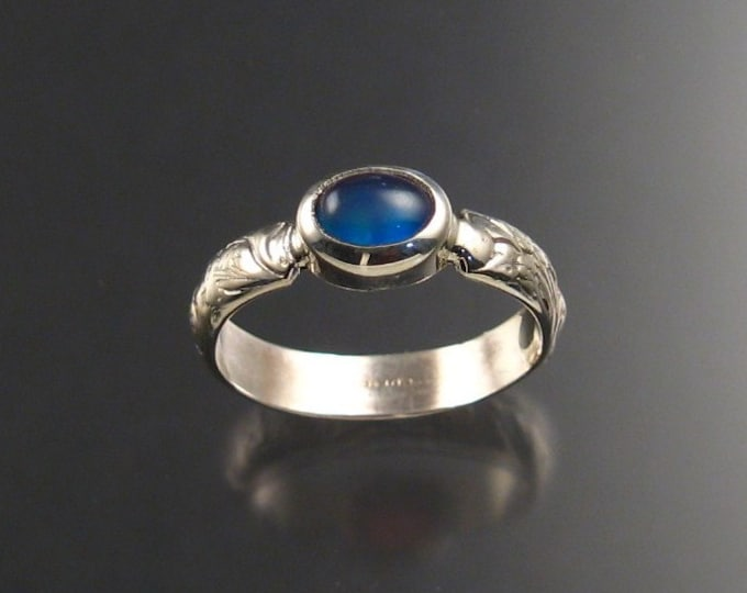 Moonstone and blue lab Opal Doublet ring Sterling Silver made to order in your size