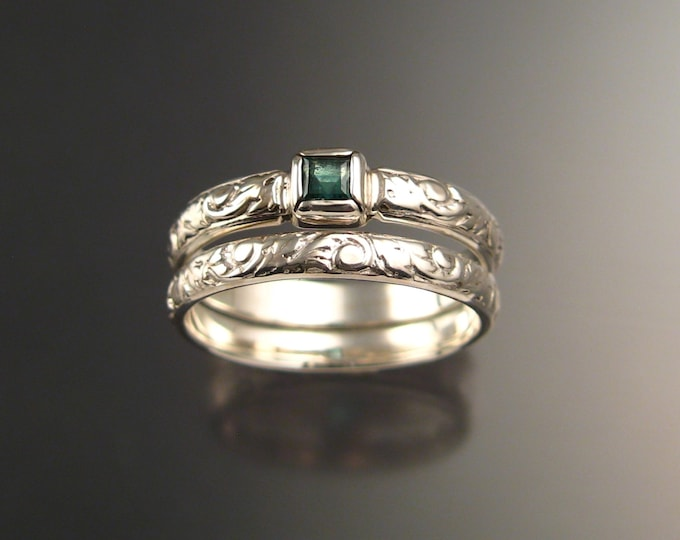 Emerald square Natural Colombian Emerald Wedding set 14k White Gold Victorian bezel set ring made to order in your size