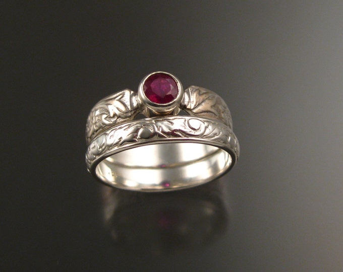 Ruby and 14k White Gold flower and vine pattern Natural stone wedding ring set made to order in your size Victorian ring set