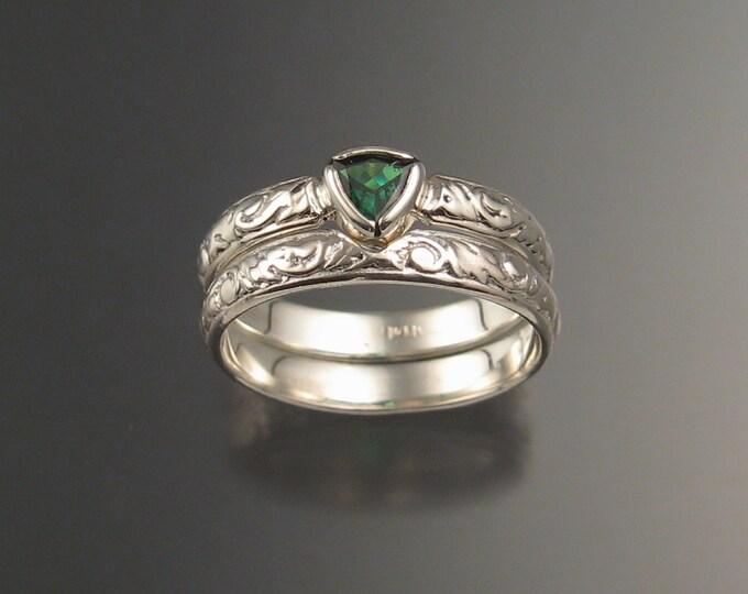 Green Garnet Triangle Wedding set 14k White Gold Victorian bezel set Tsavorite Garnet ring made to order in your size