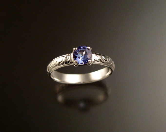 Tanzanite Wedding ring 14k White Gold Victorian engagement ring made to order in your size