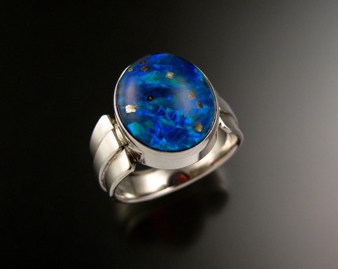 Pyrite in Quartz and Blue Lab Opal Doublet ring size 12 ring Large Mans ring ready to ship