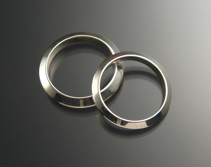 Sterling Silver Triangular Wedding bands, His and Hers made to order in your size