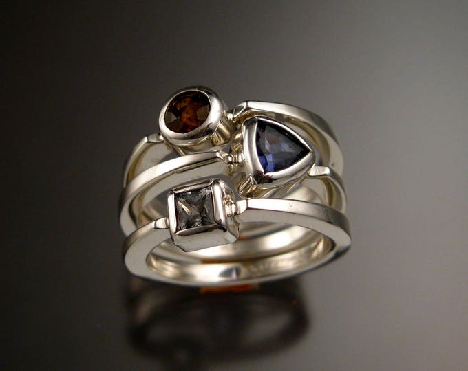 Stackable Mothers Birthstone ring set of Three Sterling silver premium birthstone rings Made to order in your size