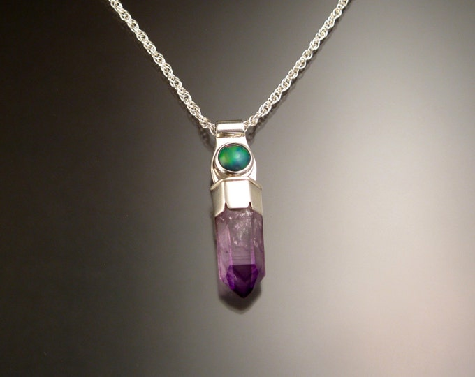 Deep Purple Natural Amethyst Crystal and Opal Necklace Sterling Silver