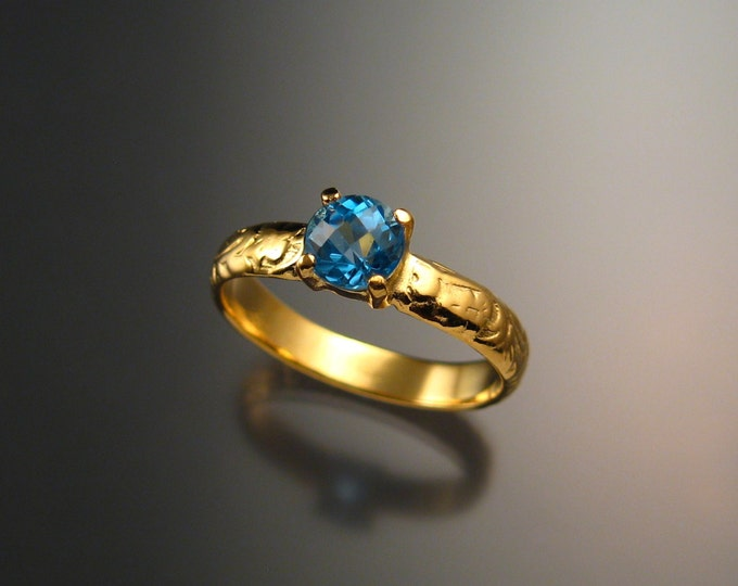 Blue Topaz Wedding ring 14k Yellow Gold made to order in your size