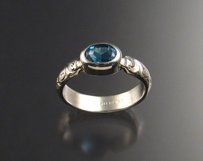 Blue Topaz Sterling Silver Handmade ring Made to order in your size
