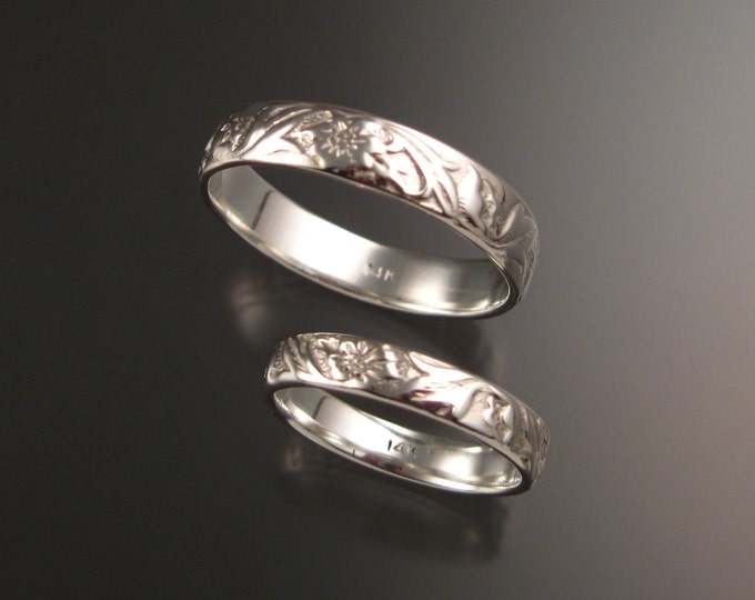 14k White Gold His and Her's flower and vine pattern Band wedding ring set made to order in your sizes Victorian two ring set