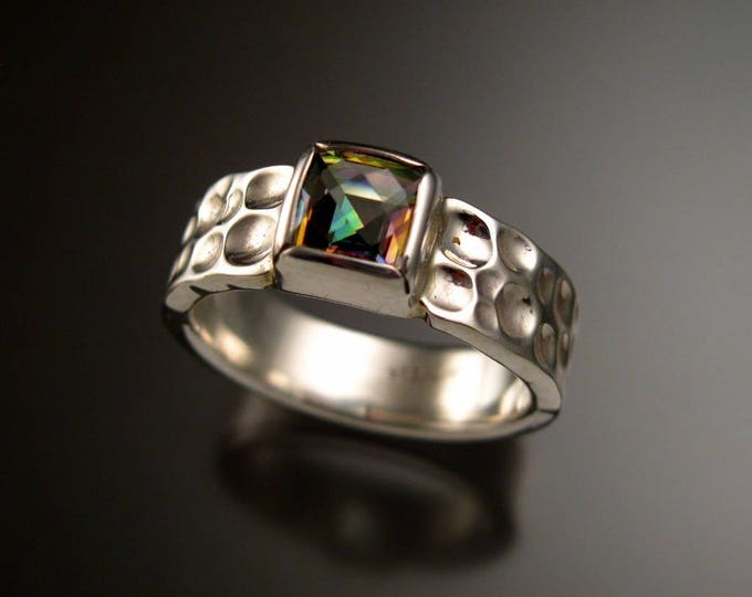 Mystic Topaz Moonscape Ring Sterling Silver Checkerboard cut 7mm square stone Size 9