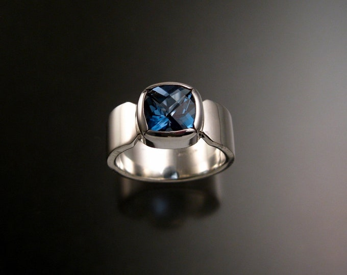 London Blue Topaz ring deep blue Sapphire substitute Cushion cut stone Sterling Silver handmade to order in your size