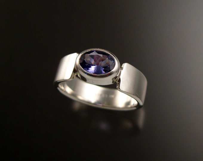 Tanzanite Oval Ring Sterling Silver made to order in your size