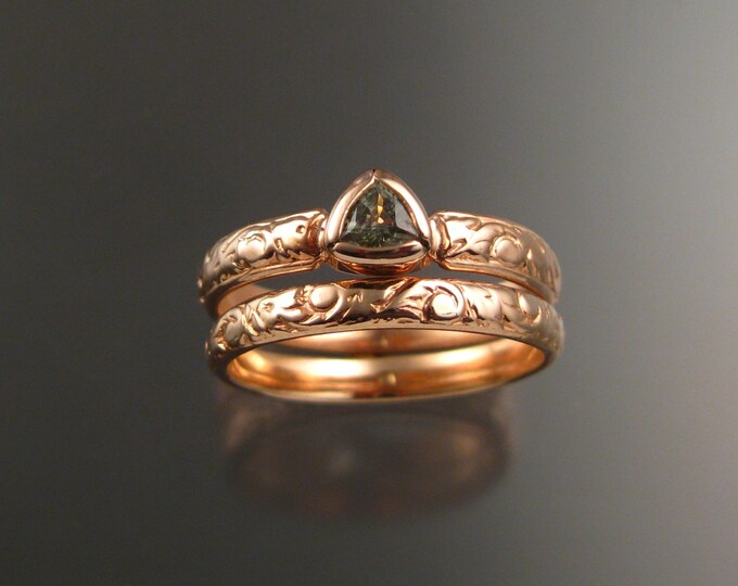 Green Sapphire Triangle Wedding set 14k Rose Gold Victorian bezel set stone two ring set made to order in your size