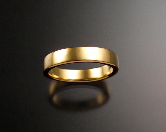 Yellow Gold Wedding band 2x4 mm rectangular Heavy 14k comfort fit bright finish Handmade ring
