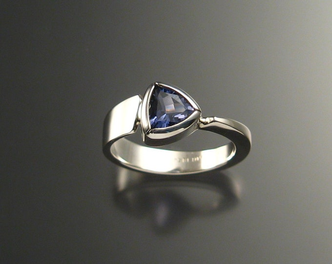 Iolite triangle ring Sterling Silver made to order in your size