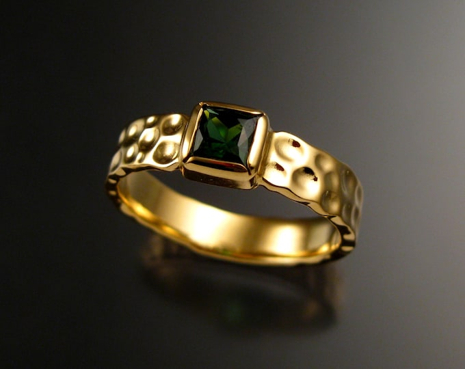 Green Tourmaline square Moonscape ring Emerald substitute 14k Yellow gold ring handcrafted in your size