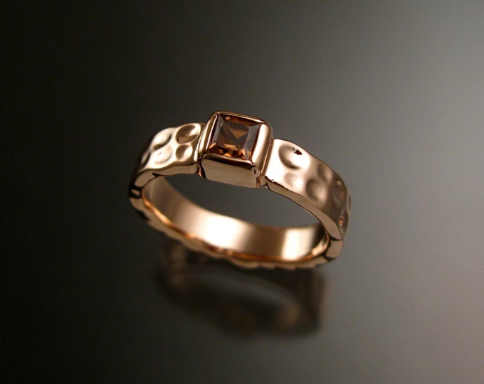 Honey Zircon 4mm square Moonscape ring handcrafted in 14k Rose Gold Chocolate Diamond substitute ring made to order in your size