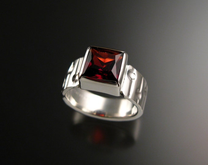 Garnet Ring Sterling Silver Bars and craters band large Square stone size 6