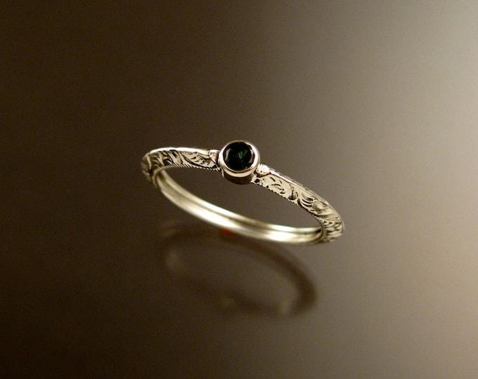 Green Garnet Wedding ring Sterling Silver Victorian bezel set Tsavorite Garnet ring made to order in your size