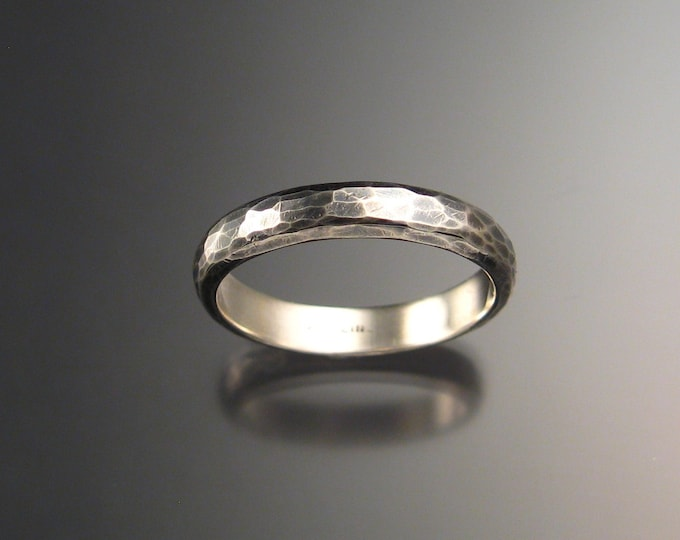 Sterling Silver Half Round Wedding band hammered Oxidized Sterling Silver made to order in your size