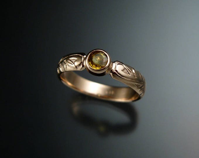 Golden Sapphire Wedding ring 14k rose Gold Victorian bezel set Canary Diamond substitute ring made to order in your size