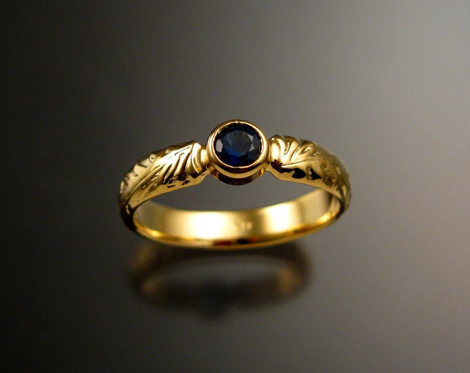 Sapphire Wedding ring 14k Yellow Gold Natural Cornflower blue Sapphire Victorian floral pattern ring made to order in your size