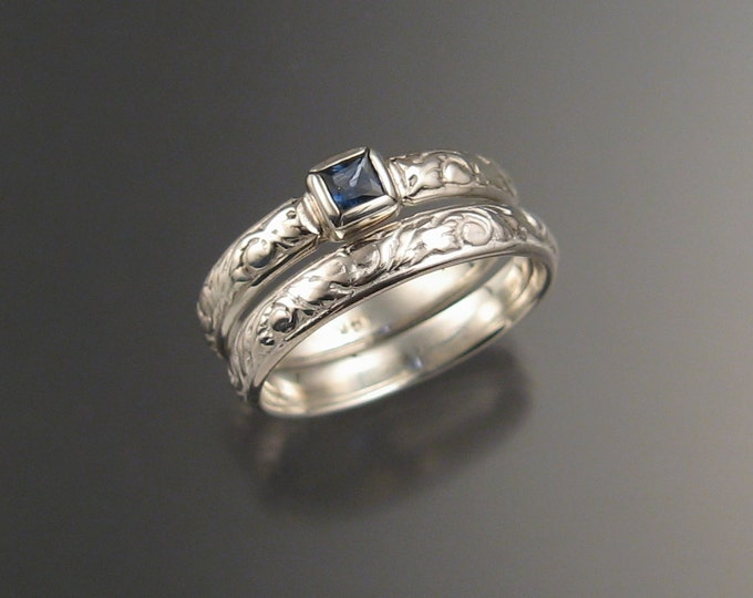 Sapphire Cornflower blue Natural Square cut stone Wedding set 14k White Gold Victorian bezel set  ring made to order in your size