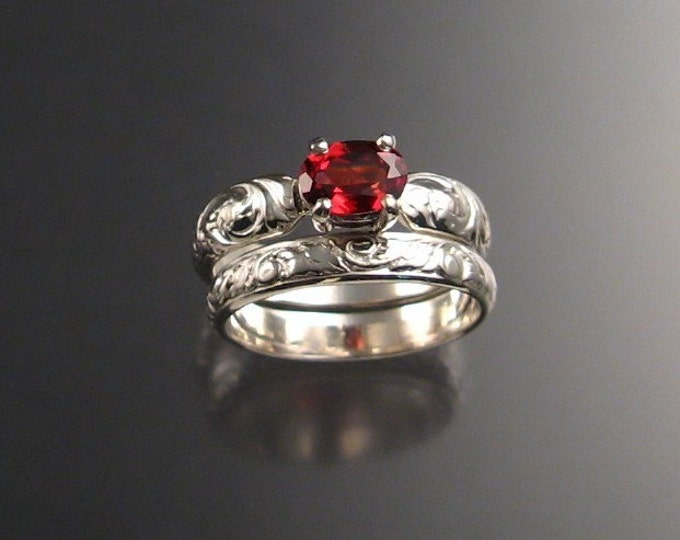 Garnet Wedding set Sterling Silver Handmade in your size