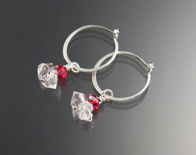 Natural Quartz Crystal Birthstone Hoop Earrings January birthstone Garnet red  Hoops in Sterling silver