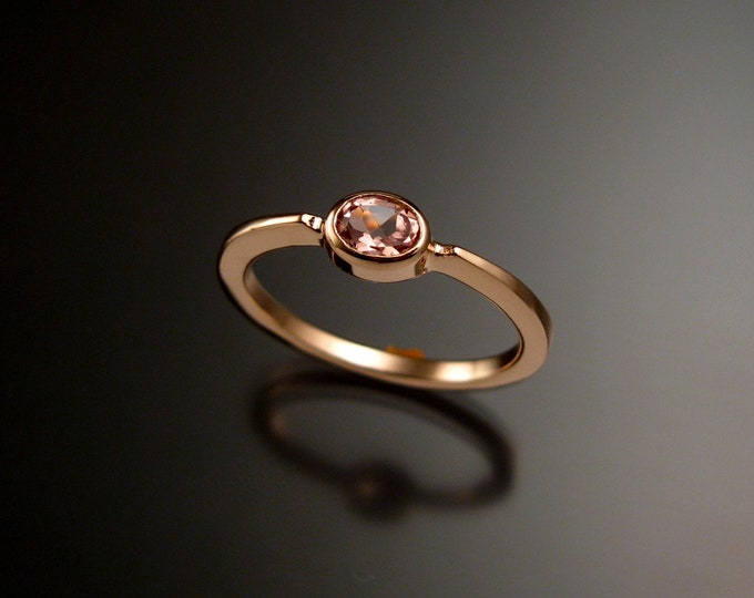 Pink Topaz ring 14k Rose Gold stackable ring made to order in your size