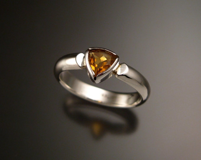 Citrine ring triangle shaped November birthstone ring set in Sterling Silver made to order in your size