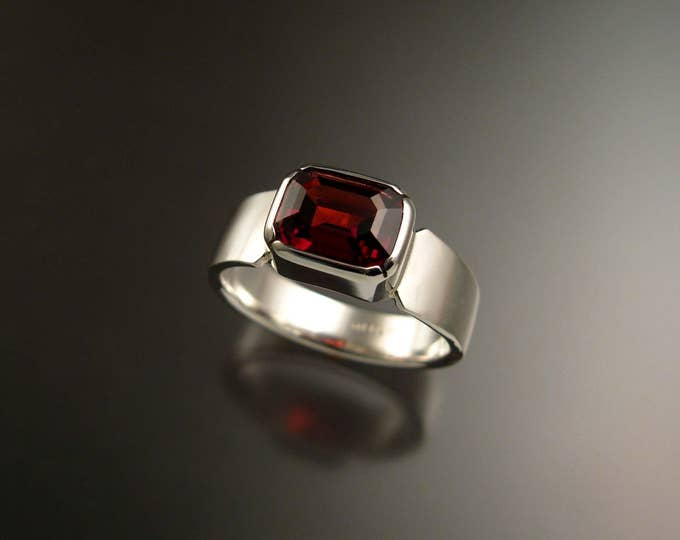 Garnet red 7 x 9mm rectangular stone Sterling Silver Bezel set ring with cold forged tapered band made to order in your size