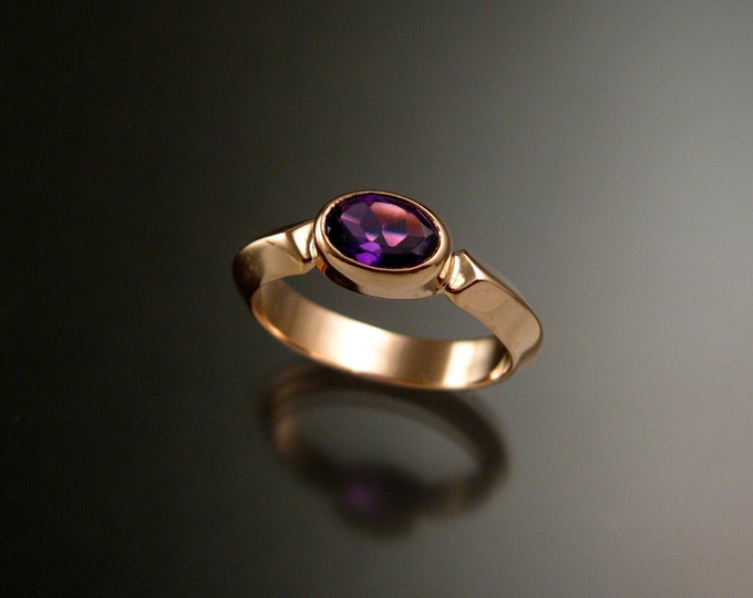 Amethyst 14k Rose Gold triangular band ring with bezel set east west stone ring handmade to order in your size