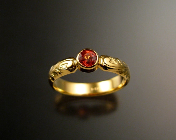 Orange Sapphire Wedding ring 14k Yellow Gold Victorian floral pattern bezel set Padparadscha ring made to order in your size