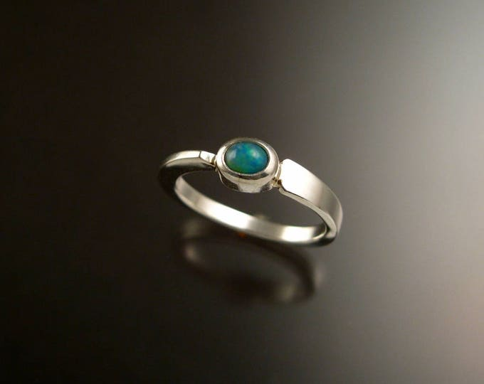 Opal Ring Sterling Silver Asymmetrical stackable ring with 4x5mm oval stone size 6
