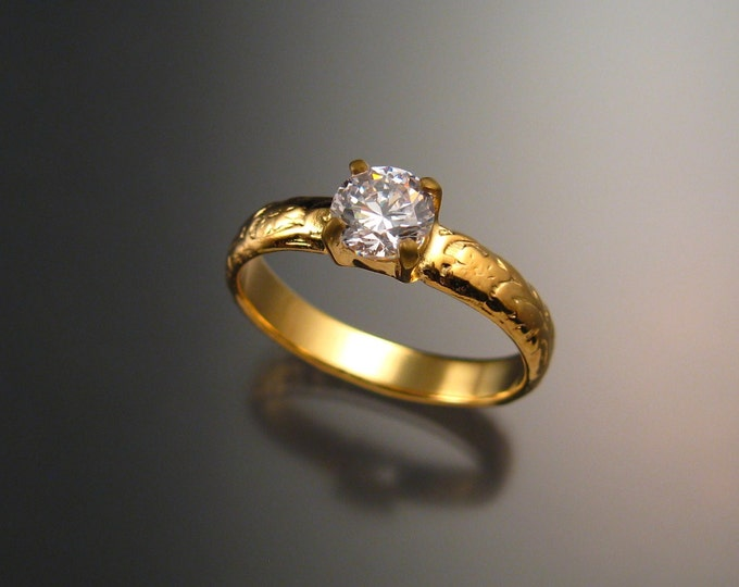 White Zircon Wedding ring 14k Yellow Gold Diamond substitute ring made to order in your size
