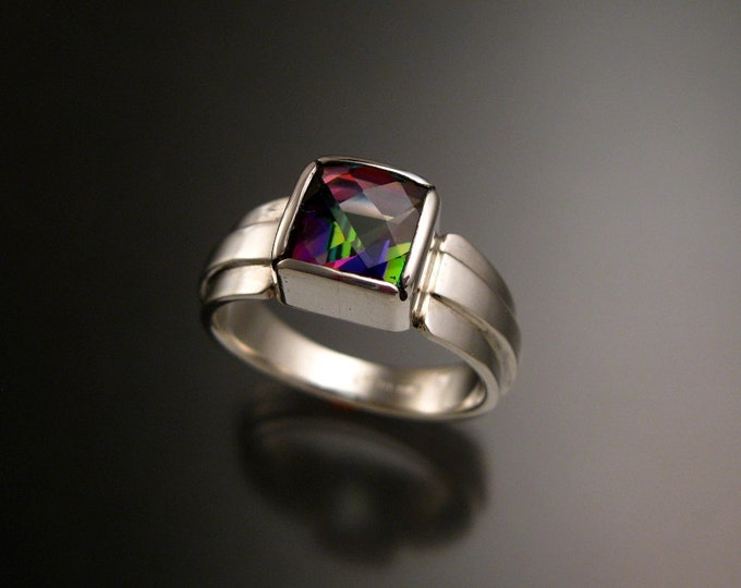 Mystic Topaz ring Checkerboard cut Square ring made to order in your size sturdy silver band ring