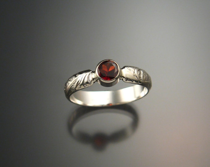 Garnet ring Sterling Silver Handmade to order in your size