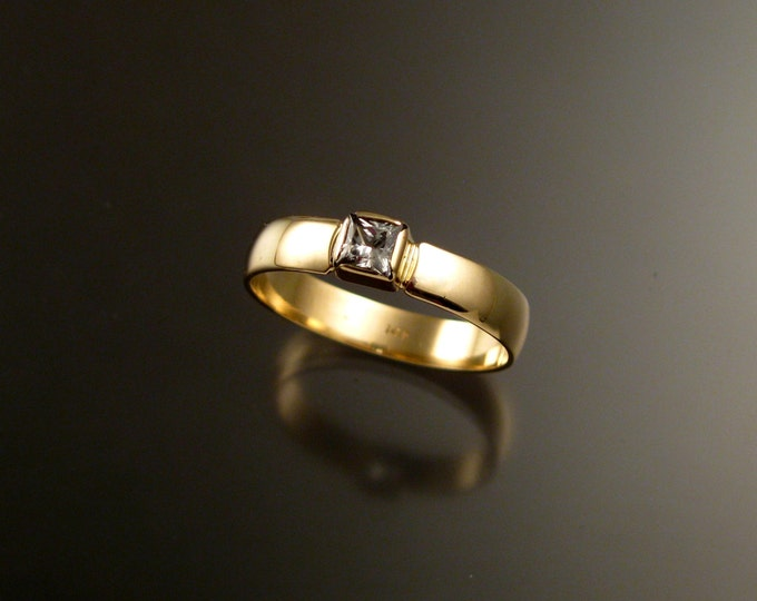 White Sapphire Wedding ring 14k yellow Gold Princess cut stone Natural Diamond substitute size 10 1/2