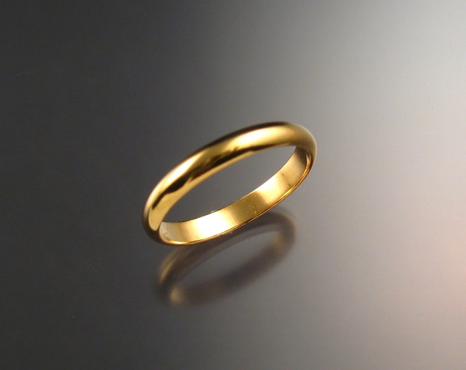 14k Yellow gold Wedding band 2.6 mm Smooth Half round ring Handmade in your Size
