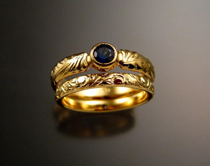 Sapphire Wedding set 14k Yellow Gold Natural Cornflower blue Sapphire Victorian floral pattern two rings made to order in your size