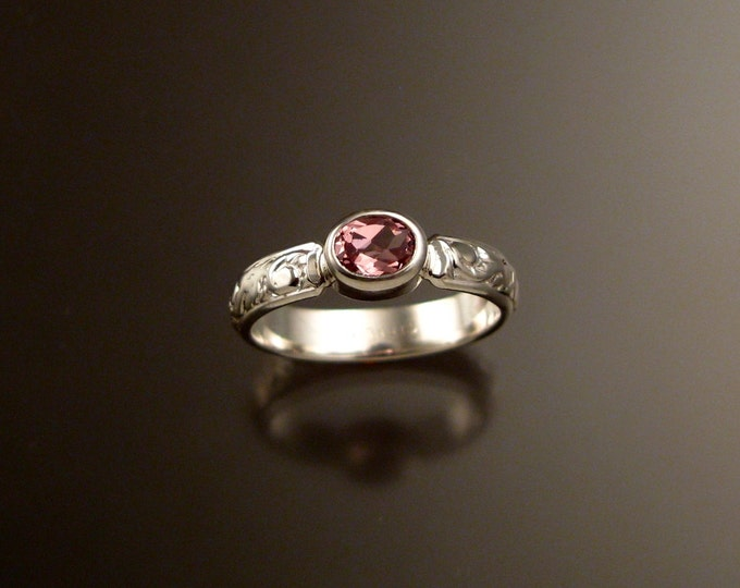 Pink Zircon ring Sterling silver Victorian floral pattern size 4 3/4
