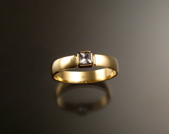White Sapphire Wedding ring 14k yellow Gold Princess cut stone Natural Diamond substitute Engagement ring made to order in your size