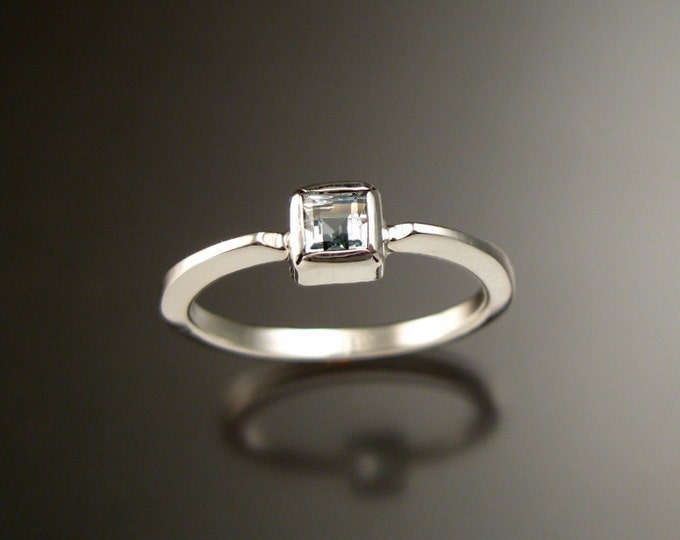 Aquamarine square stone stackable ring Sterling Silver handmade to order in your size