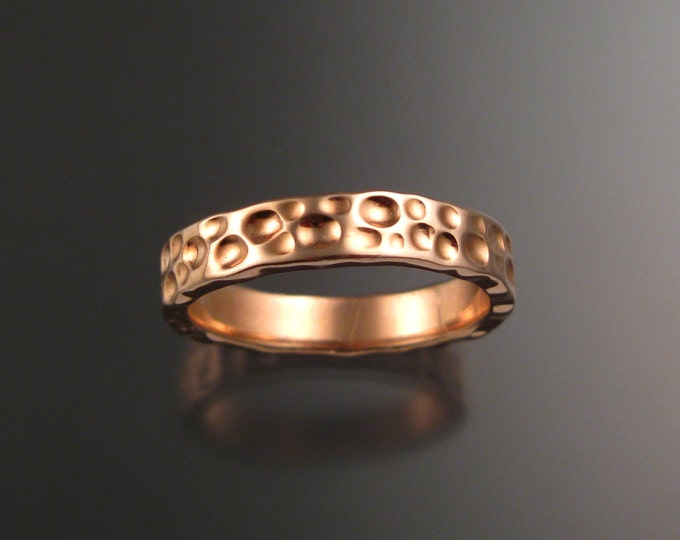 Rose Gold Moonscape Heavy 14k Wedding band Unique Handmade ring made to order in your size