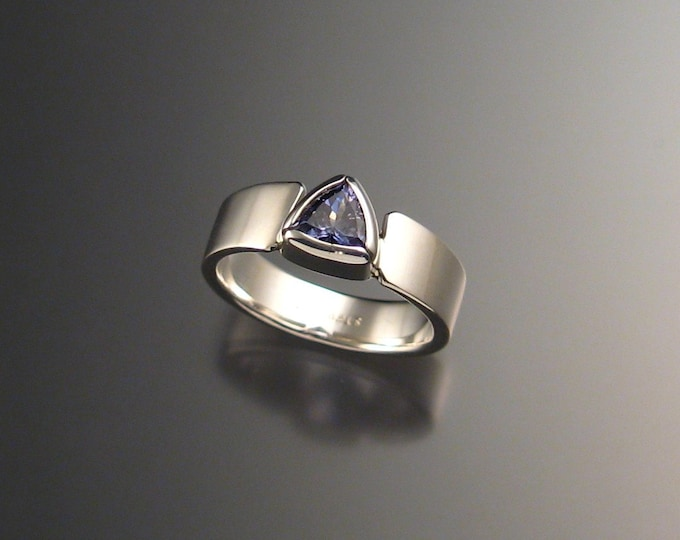 Tanzanite Triangle Ring Sterling Silver size 6 1/4