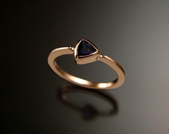 Iolite Triangular stacking ring 14k Rose Gold ring made to order in your size